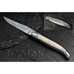 Couteau Laguiole 12 cm, 1 pièce, pointe de corne, lame DAMAS